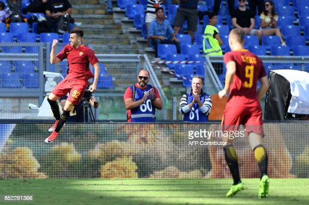 AS Roma's Italian forward Stephan el Shaarawy celebrates after scoring against Udinese during the Italian Serie A football match between AS Roma and...