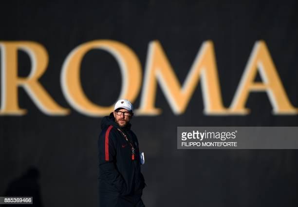 Roma's Italian head coach Eusebio Di Francesco attends a training session on the eve of the UEFA Champions League football match AS Roma vs Qarabag...