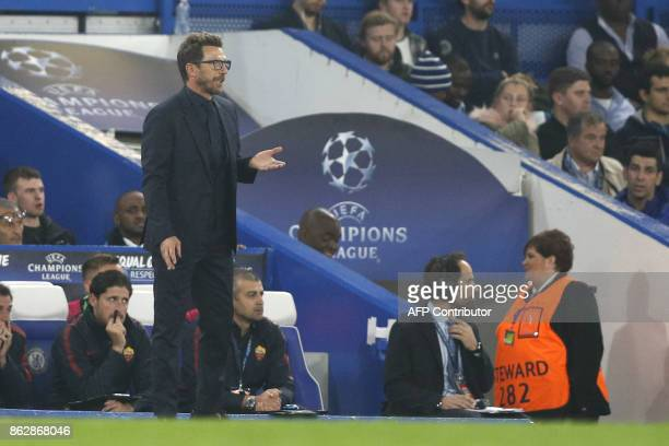 Roma's Italian head coach Eusebio Di Francesco looks on during a UEFA Champions league group stage football match between Chelsea and Roma at...