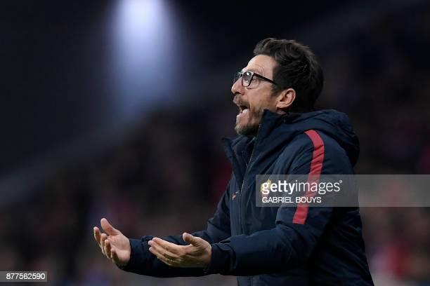 Roma's Italian head coach Eusebio Di Francesco reacts during the UEFA Champions League group C football match between Atletico Madrid and AS Roma at...