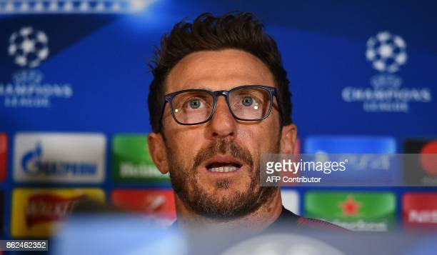 Roma's Italian head coach Eusebio Di Francesco speaks during a press confernce in London on October 17 on the eve of their UEFA Champions League...
