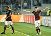 Roma's Italian midfielder Alessandro Florenzi celebrates after scoring against FC Barcelona during the UEFA Champions League football match beetween...