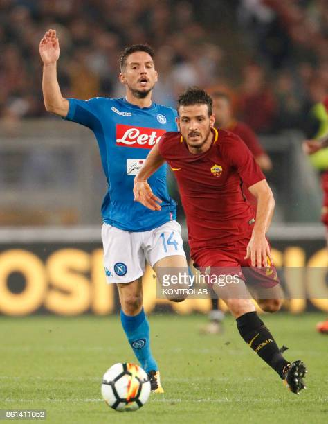 OLIMPICO ROME LAZIO ITALY Roma's Italian midfielder Alessandro Florenzi fights for the ball with Napoli's Belgian striker Dries Mertens during the...