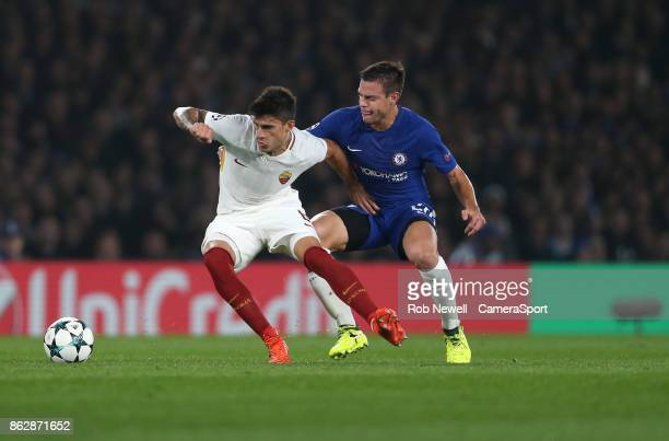Roma's Kevin Strootman and Chelsea's Cesar Azpilicueta during the UEFA Champions League group C match between Chelsea FC and AS Roma at Stamford...