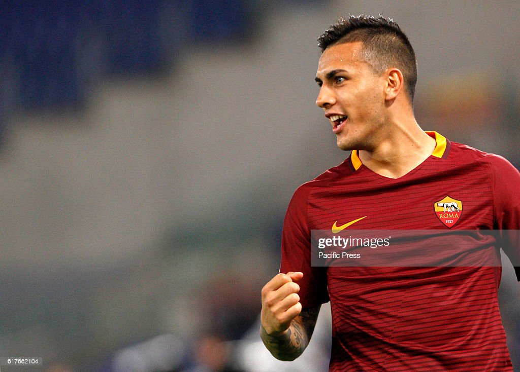 Roma's Leandro Paredes celebrates after scoring during the... : News Photo