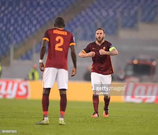 Roma's midfielder exult for first goal during the UEFA Champions League football match AS Roma vs Bayer Leverkusen on November 4 2015 at the Olympic...