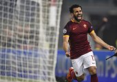 Roma's midfielder from Egypt Mohamed Salah celebrates after scoring during the UEFA Champions League football match AS Roma vs Bayer Leverkusen on...