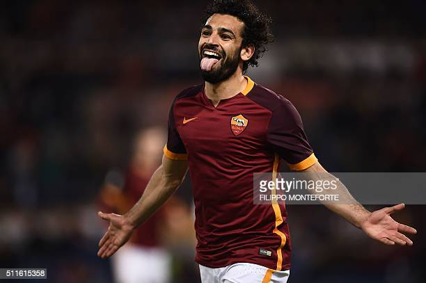 Roma's midfielder from Egypt Mohamed Salah celebrates after scoring during the Italian Serie A football match Roma vs Palermo at the Olympic Stadium...