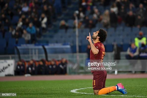 AS Roma's midfielder from Egypt Mohamed Salah celebrates after scoring during the Italian Serie A football match AS Roma versus Torino on February 19...