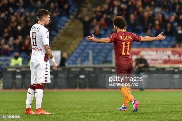 AS Roma's midfielder from Egypt Mohamed Salah celebrates after scoring Torino during the Italian Serie A football match AS Roma versus Torino on...