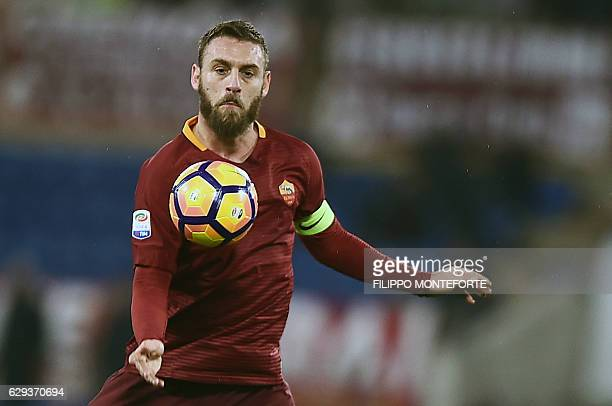 Roma's midfielder from Italy Daniele De Rossi controls the ball during the Italian Serie A football match Roma vs AC Milan at the Olympic Stadium in...