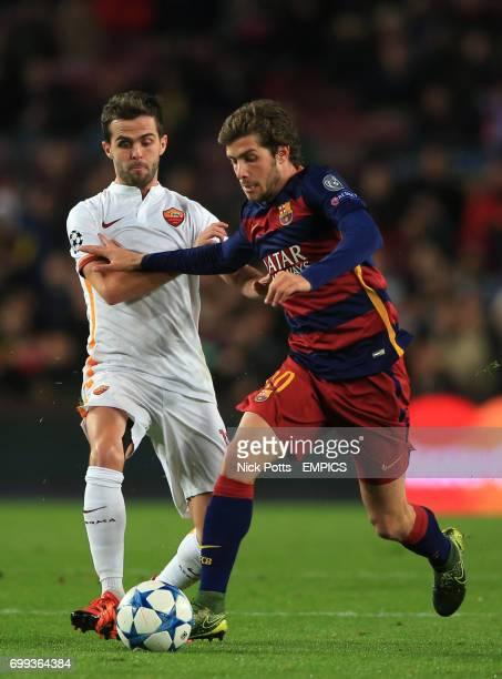 Roma's Miralem Pjanic and Barcelona's Sergi Roberto