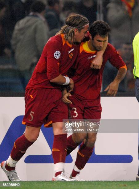 Roma's Mirko Vucinic celebrates his goal