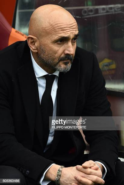 Roma's new coach Luciano Spalletti watches the match during the Italian Serie A football match Roma vs Verona at the Olympic Stadium in Rome on...