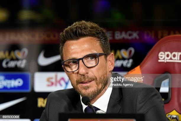 Roma's new head coach Eusebio Di Francesco attends a press conference at Fulvio Bernardini Sport Facility in Trigoria district of Rome Italy on June...