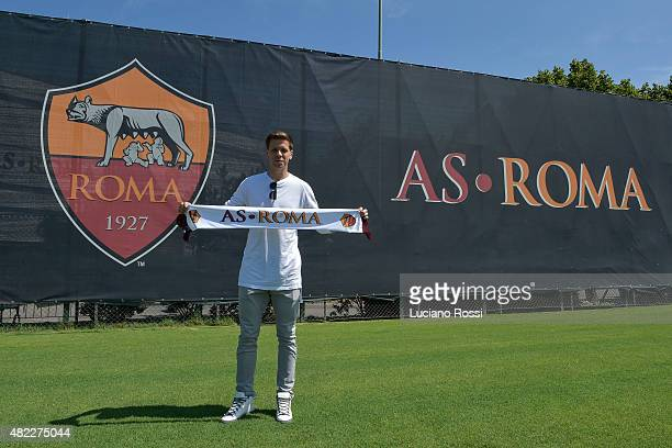 Roma's new loan signing Wojciech Szczesny visits the training center on on July 29 2015 in Rome Italy