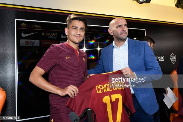 Roma's new Player Cengiz Under and Sports director of AS Roma Ramon Rodriguez Verdejo Monchi during a press conference at Fulvio Bernardini Sport...