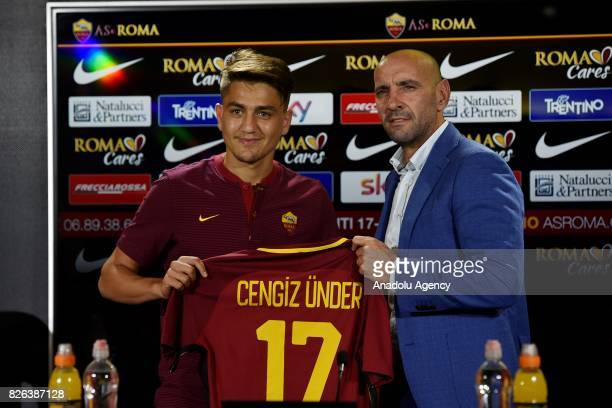 Roma's new Player Cengiz Under attends a press conference at Fulvio Bernardini Sport Facility in Trigoria district of Rome Italy on August 4 2017