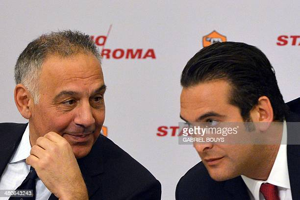 AS Roma's president James Pallotta and AS Roma's Ceo Italo Zanzi present the Rome's new stadium project on March 26 2014 in Rome AS Roma officially...