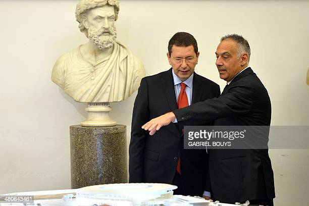 AS Roma's president James Pallotta and Mayor of Rome Ignazio Marino present a model of the Rome's new stadium project during a press conference on...