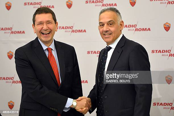 AS Roma's president James Pallotta and Mayor of Rome Ignazio Marino shake hands as they present the Rome's new stadium project during a press...