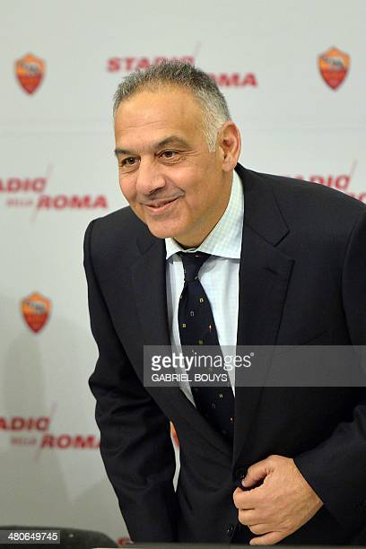 AS Roma's president James Pallotta arrives to present the Rome's new stadium project during a press conference on March 26 2014 in Rome AS Roma...
