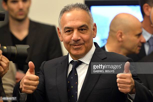 AS Roma's president James Pallotta poses before to present the Rome's new stadium project during a press conference on March 26 2014 in Rome AS Roma...