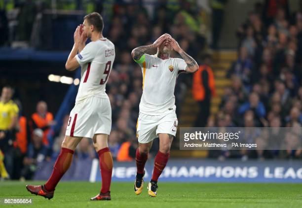 Roma's Radja Nainggolan rues a missed chance during the UEFA Champions League Group C match at Stamford Bridge London