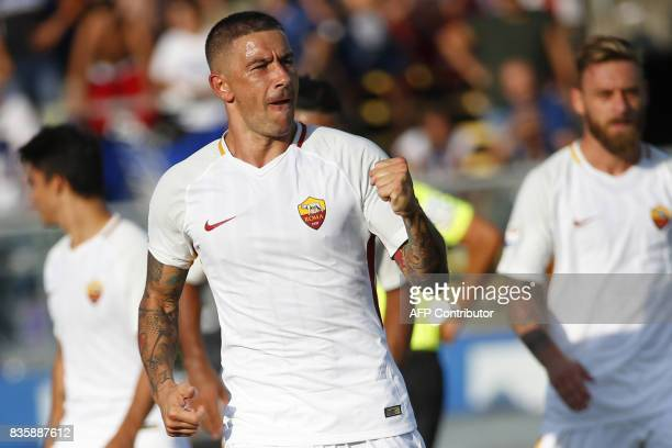 AS Roma's Serbian defender Aleksandar Kolarov celebrates after scoring a goal during the Italian Serie A football matchbetween Atalanta and AS Roma...