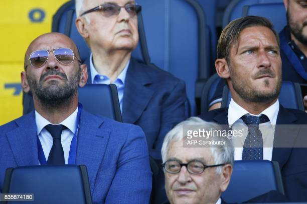 AS Roma's sporting director Monchi and AS Roma's former forward Francesco Totti attend the Italian Serie A football match Atalanta vs AS Roma on...
