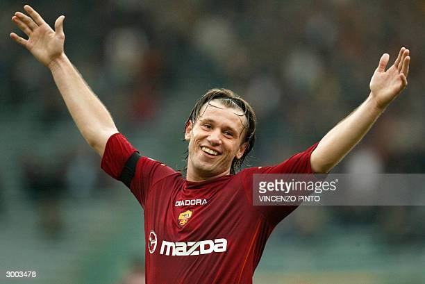 Roma's striker Antonio Cassano celebrates after scores his third goal against Siena during their Serie A soccer match at Olympic stadium in Rome 22...