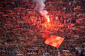 AS Roma's supporters cheer prior the UEFA Champions League football match AS Roma CSKA Moscow on September 17 2014 at the Olympic Stadium in Rome AFP...