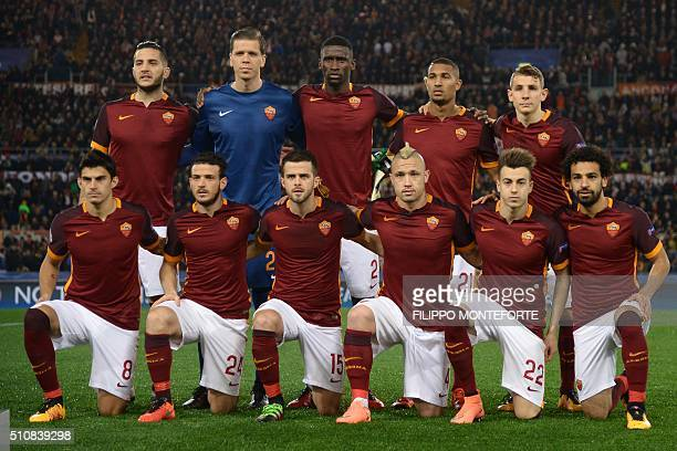 AS Roma's team players Roma's defender from Greece Konstas Manolas Roma's goalkeeper from Poland Wojciech Szczesny Roma's defender from Germany...