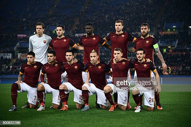 Roma's team players Roma's goalkeeper from Poland Wojciech Szczesny Roma's defender from Greece Kostas Manolas Roma's defender from Germany Antonio...