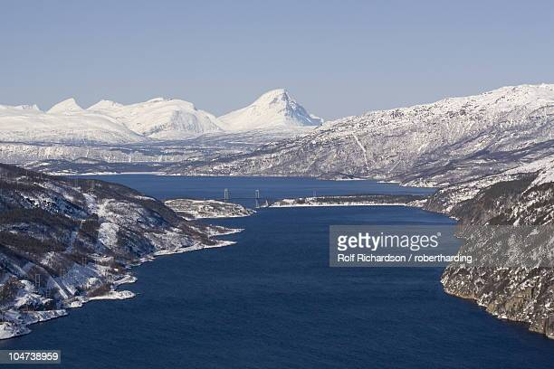 Rombakfjord from Ofoten railway, Narvik, Nordland, Norway, Scandinavia, Europe