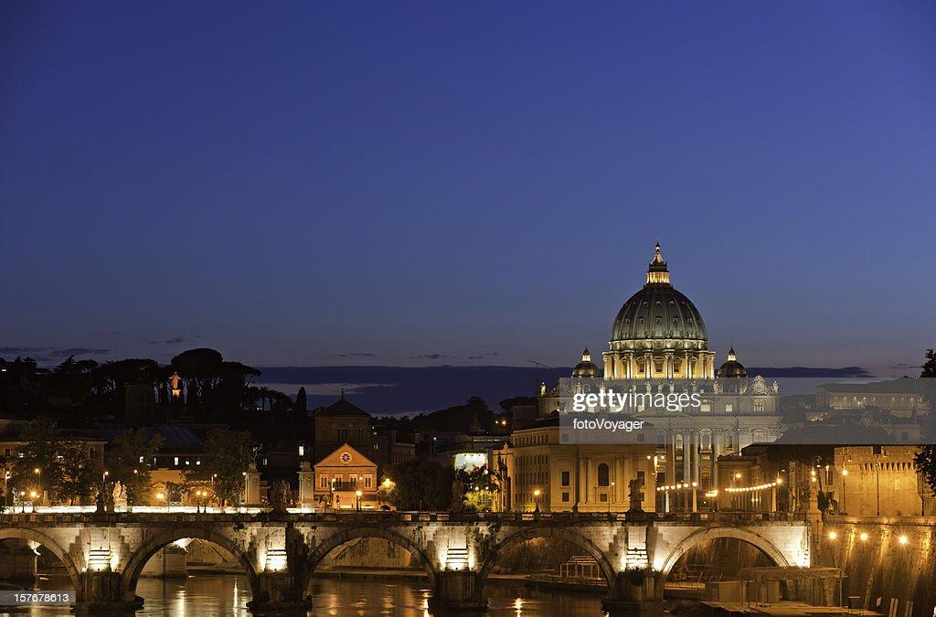 Rome blue dusk golden landmarks St Peter's Basilica Ponte Sant'Angelo