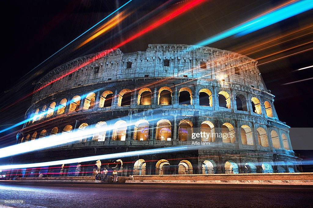Rome Colosseum at Night : Stock Photo