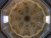 Rome, Lazio, Italy - April 20, 2017: Interior of the dome of the Church of Santa Maria di Loreto at the Trajan's Forum