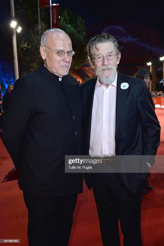 Rome Film Festival director Marco Mueller and actor John Hurt attend the Opening Ceremony and 'L'Ultima Ruota Del Carro' Premiere during The 8th Rome...