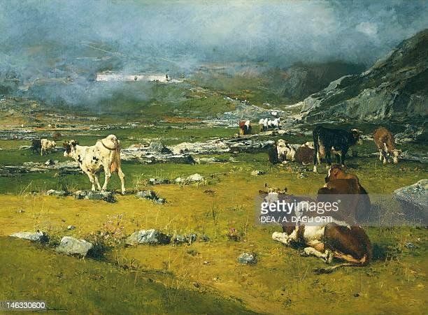 Rome Galleria Nazionale D'Arte Moderna Mountain landscape with cows grazing in the upper area of Biella by Lorenzo Delleani