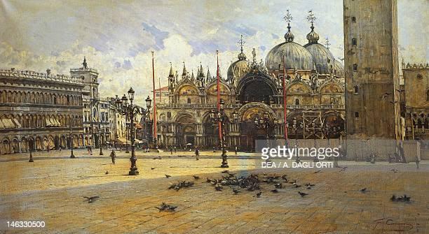 Rome Galleria Nazionale D'Arte Moderna St Mark's Square by Filippo Carcano oil on canvas