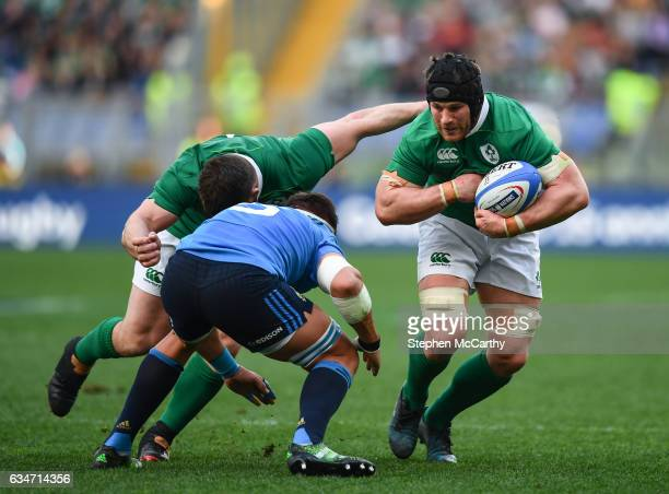 Rome Italy 11 February 2017 Sean O'Brien of Ireland in action against Andries van Schalkwyk of Italy during the RBS Six Nations Rugby Championship...