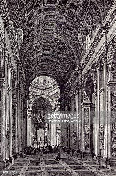 Rome Italy 1875 Nave Of St Peter's