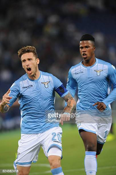 Rome Italy 22th August 2015 Italian Serie A football match between SS Lazio and FC Bologna Biglia celebrate his first goal in the match Lazio beats...
