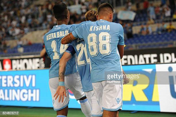 Rome Italy 22th August 2015 Italian Serie A football match between SS Lazio and FC Bologna Biglia celebrate with Kishna and Keita first goal in the...