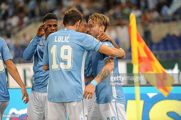 Rome Italy 22th August 2015 Italian Serie A football match between SS Lazio and FC Bologna Biglia celebrate with Lulic and Keita the first goal in...