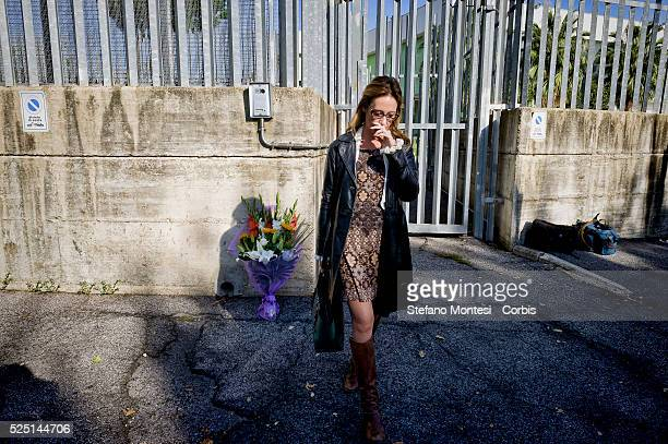 Rome Italy 22th October 2015 Ilaria Cucchi Stefano Cucchi's sister lays a bouquet of flowers in front of the pavilion Sandro Pertini prison hospital...