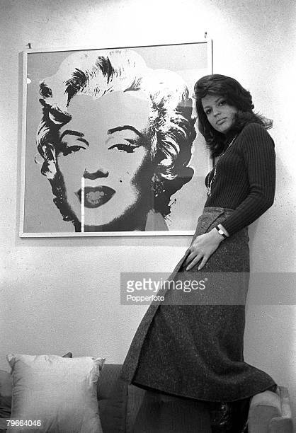 Rome Italy 26th October 1970 German Princess and actress Ira Furstenberg is pictured with a portrait of Marilyn Monroe
