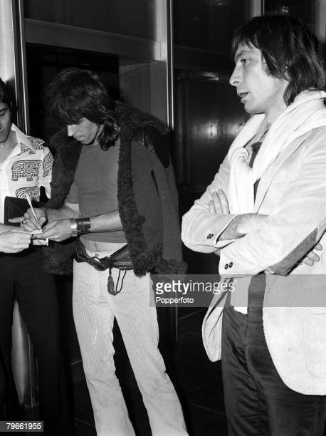 Rome Italy 28th September 1970 Members of British pop group 'The Rolling Stones' Keith Richards and Charlie Watt are pictured as they arrived in Rome...