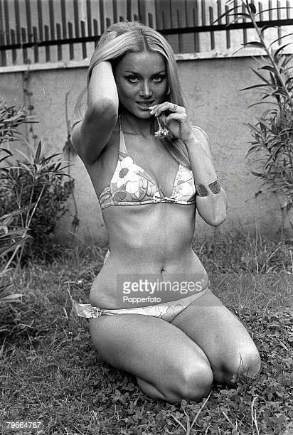 Rome Italy 3rd June German actress Barbara Bouchet poses in a garden wearing a bikini